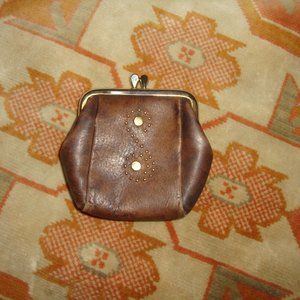 vintage S initial leather coin purse